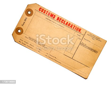 An old blank customs declaration tag. It is aged, faded and cracked with red and black text. This tag or label could be used for a variety of projects including travel, shipping and transportation. It is isolated on white for easier extraction to your project. If you don't see similar images below please visit my profile.