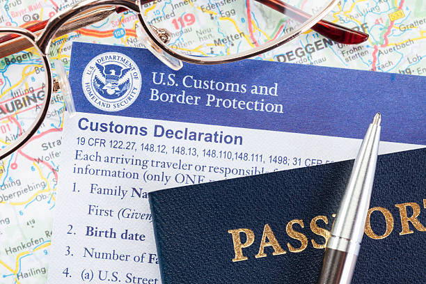 US Customs Declaration Official US Customs and Border Protection document. department of homeland security stock pictures, royalty-free photos & images
