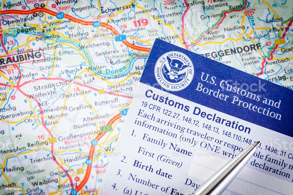 US Customs Declaration royalty-free stock photo