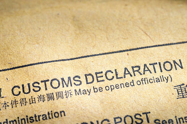customs declaration fragment of customs declaration document printed on postal envelope customs official stock pictures, royalty-free photos & images