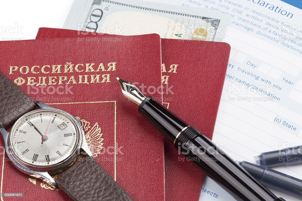 customs declaration with russian travel passports stock photo