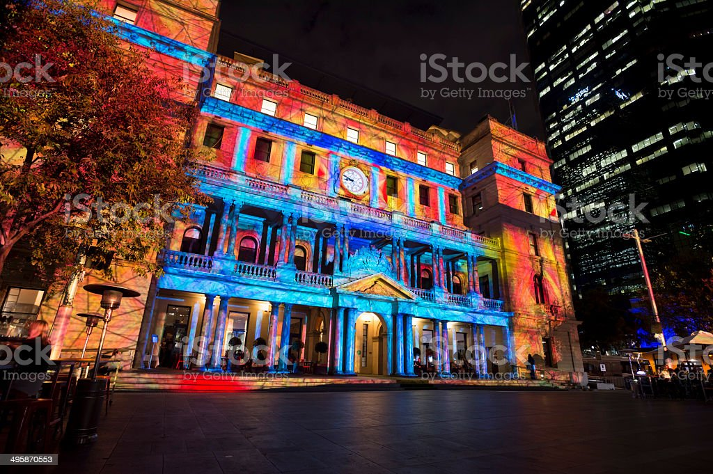 Customs House, Sydney. Vivid Festival royalty-free stock photo