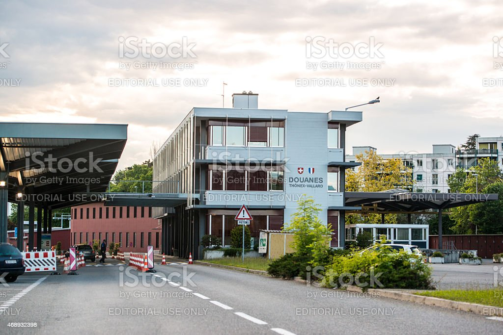Customs Office, France and Switzerland border stock photo