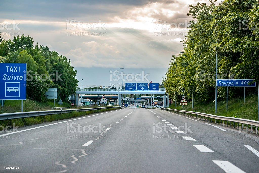 Customs Office Signs on a highway, France and Switzerland border stock photo