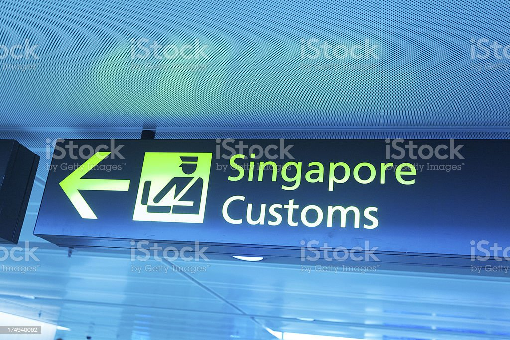 Customs Sign Panel at the Airport of Singapore stock photo