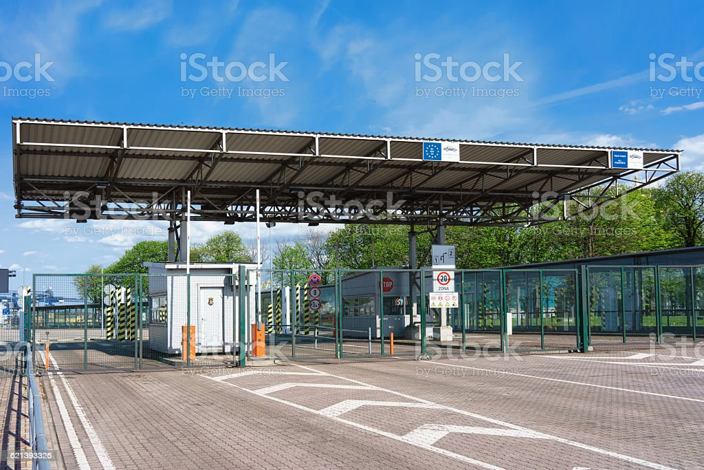Customs Zone at the Ferry terminal in Ventspils stock photo