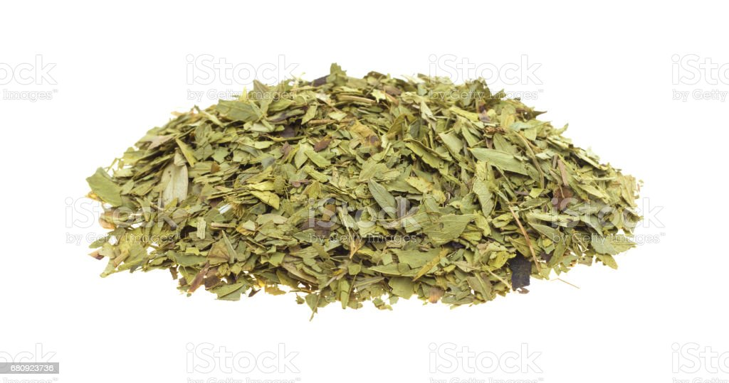 Cut and sifted dried senna leaf royalty-free stock photo