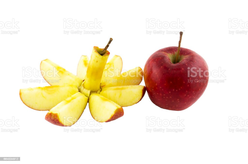 Cut and whole red apples. royalty-free stock photo