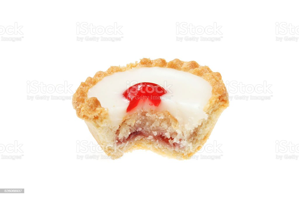 Cut Bakewell tart stock photo