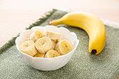 bananas on wood table.