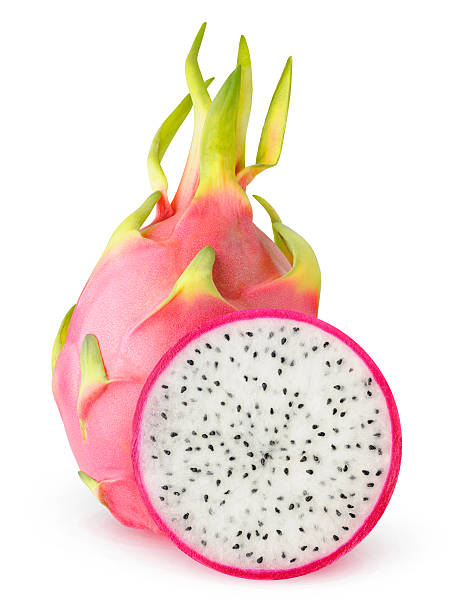 Cut dragon fruits (pitaya) Isolated dragonfruit. Cut dragon fruits (pitaya) isolated on white background with clipping path pitaya stock pictures, royalty-free photos & images