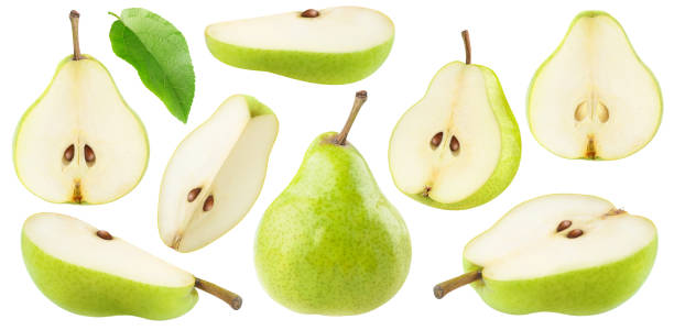Cut green pears collection stock photo