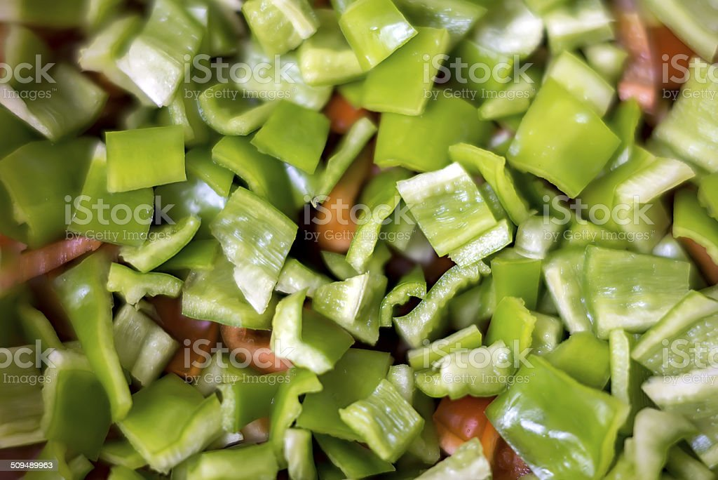 Cut green peppers stock photo