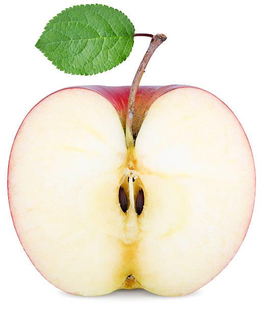 cut half an Apple stock photo