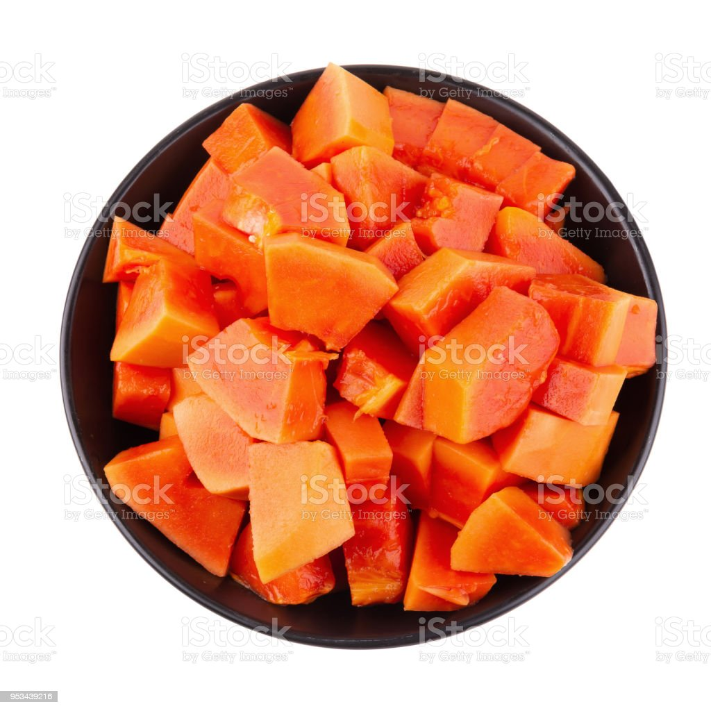 Cut Into Pieces Of Ripe Papaya Fruit Isolated On White Background