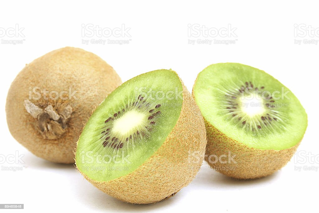 cut kiwi on white royalty-free stock photo