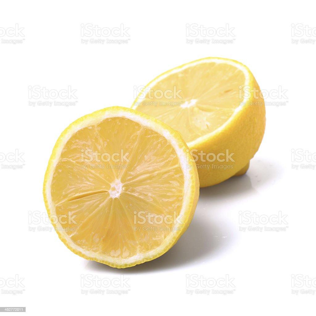 Cut Lemons on white royalty-free stock photo