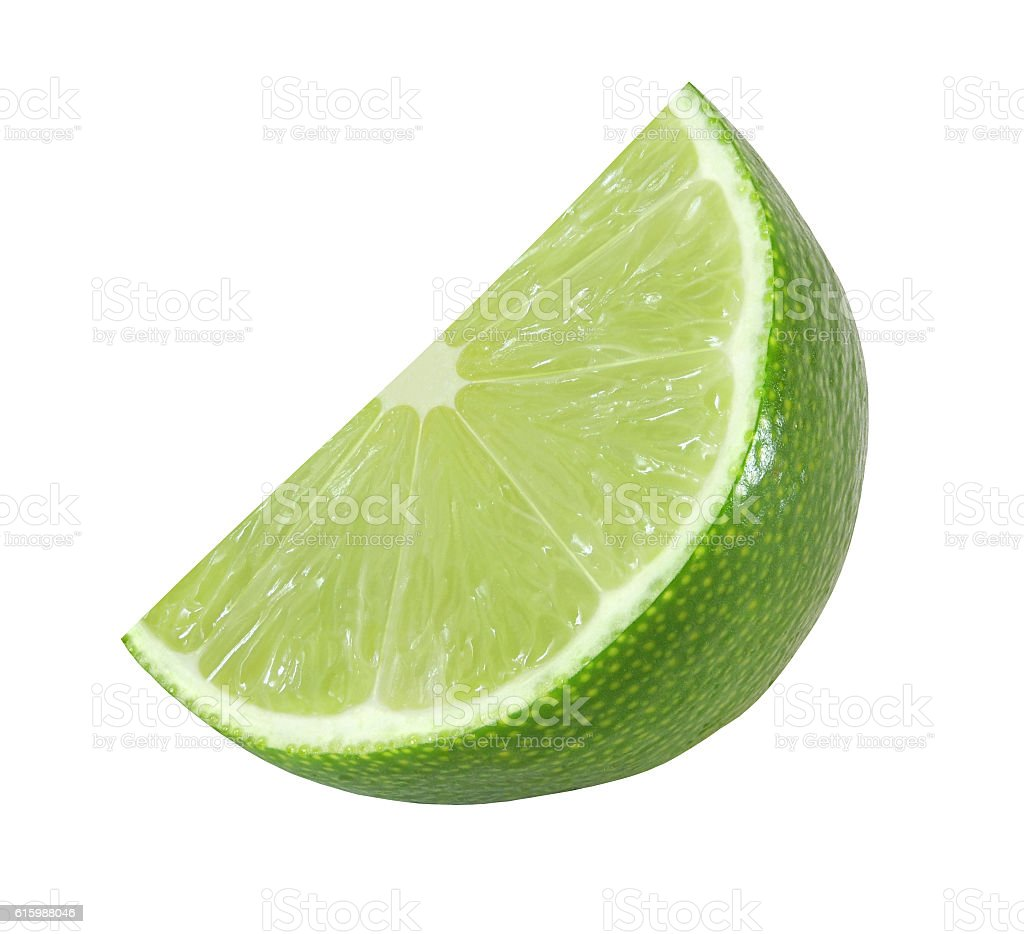 cut lime fruits isolated on white background with clipping path stock photo