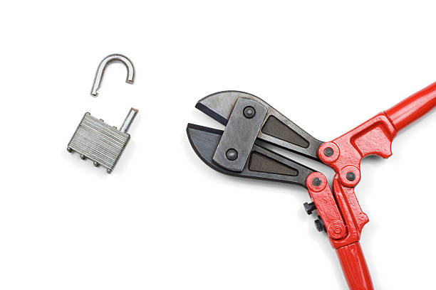 Cut Lock Security Concept stock photo
