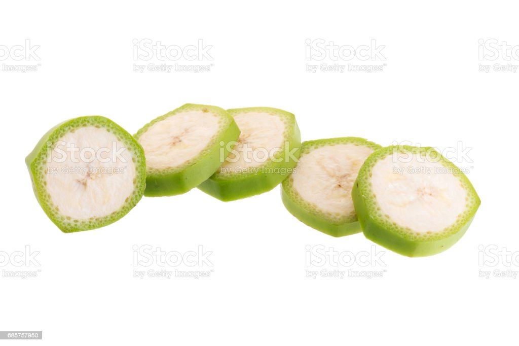 Cut of green bananas isolated on white background. foto stock royalty-free