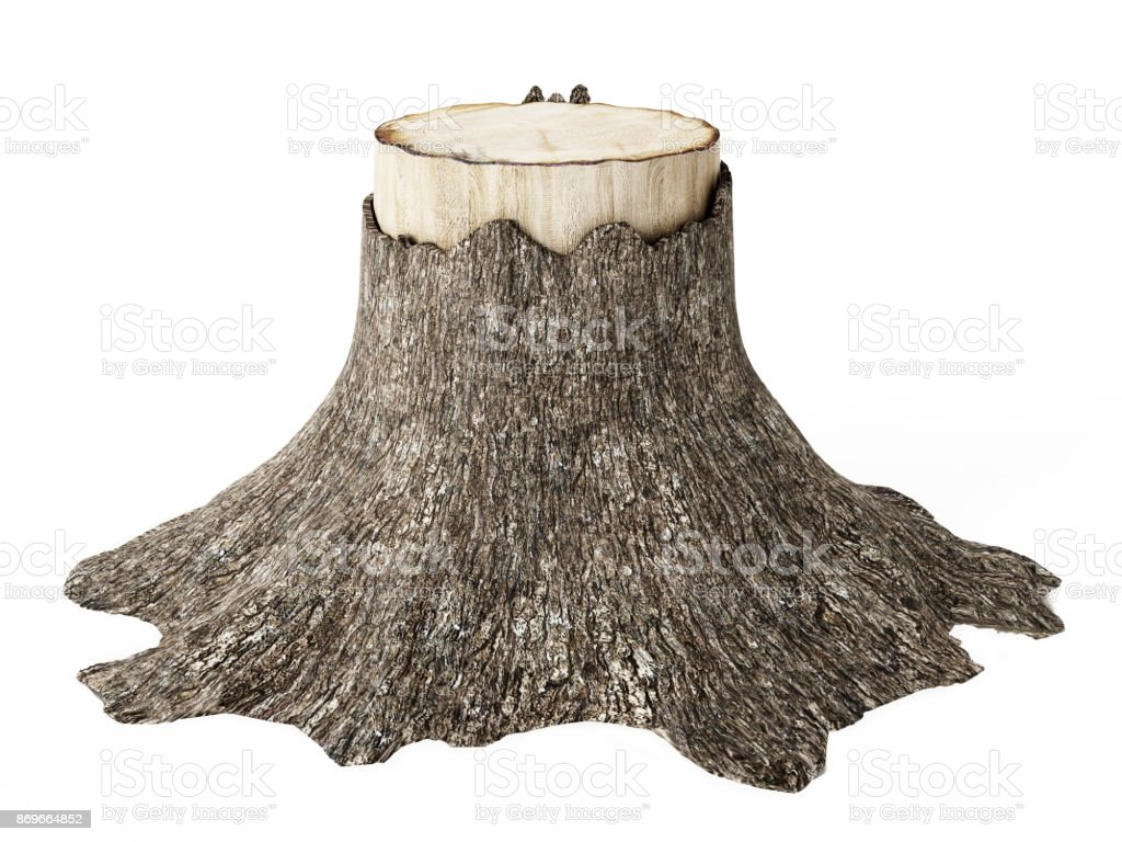 Knip oude boom geïsoleerd op wit - Royalty-free Bedrijven financiën en industrie Stockfoto