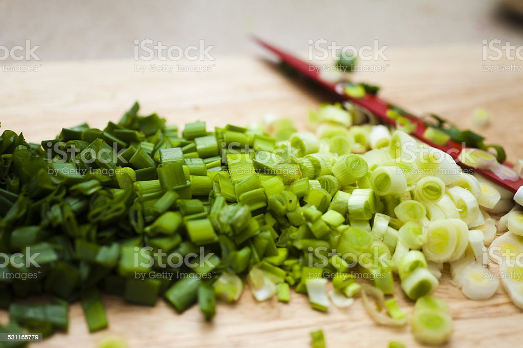 Cut onions stock photo
