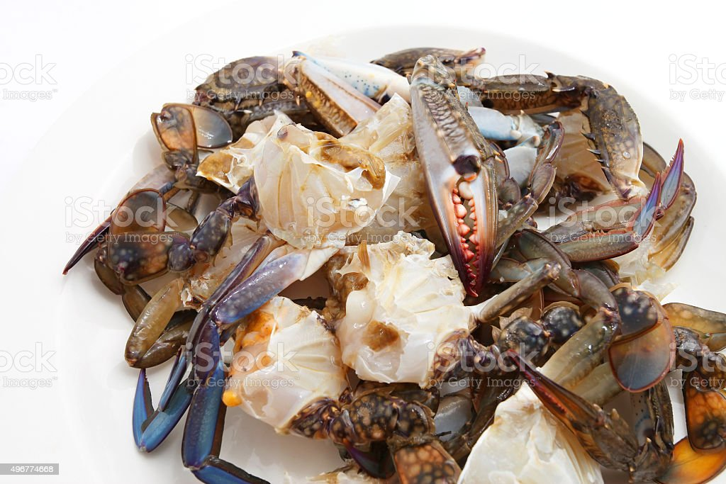Cut or prepared crab stock photo