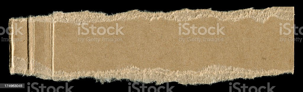 Cut or torn brown paper textured background isolated royalty-free stock photo