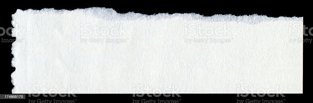 Cut or torn white paper textured background isolated royalty-free stock photo