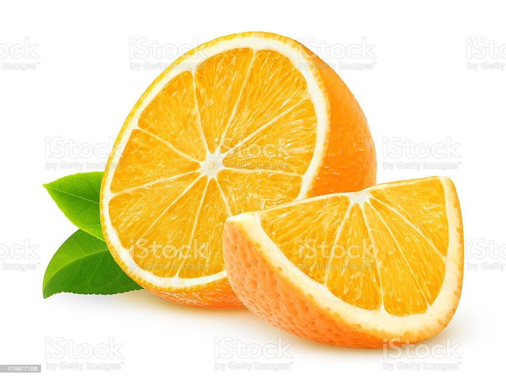 Cut oranges isolated on white stock photo