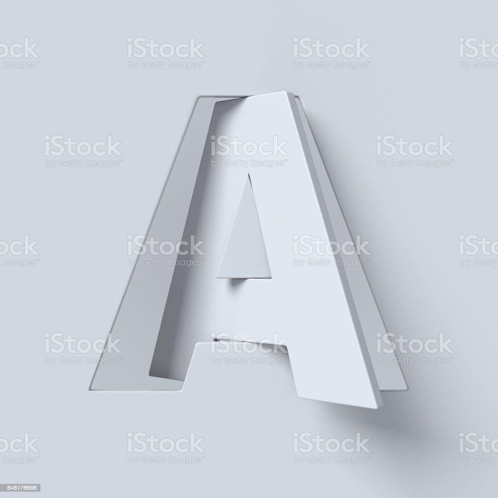 Kes şunu ve döndürülmüş yazı tipi 3d render harf A stok fotoğrafı