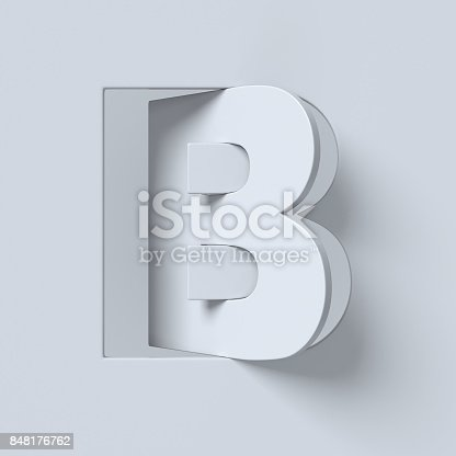 845304606 istock photo Cut out and rotated font 3d rendering letter B 848176762