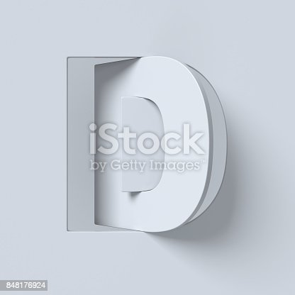 583978154 istock photo Cut out and rotated font 3d rendering letter D 848176924