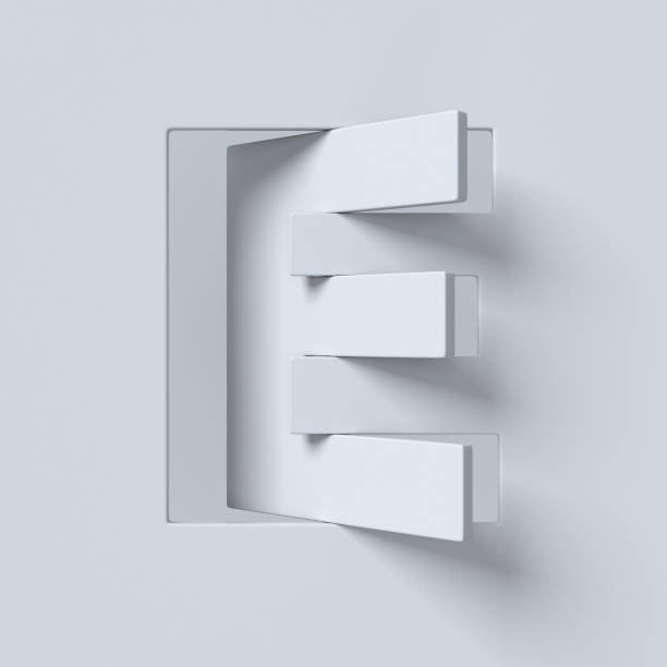 Cut out and rotated font 3d rendering letter E stock photo