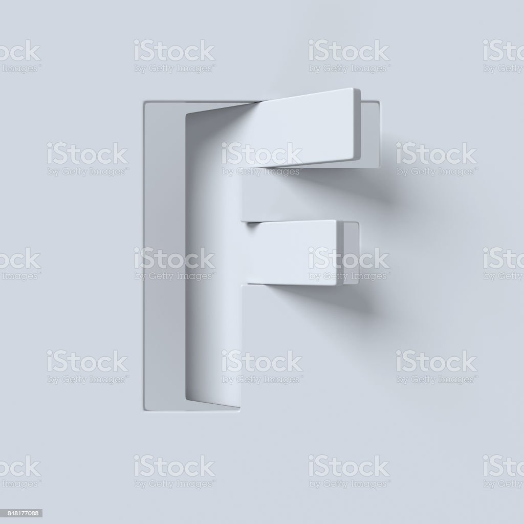 Ausschneiden und gedrehte Schriftart 3D-Rendering Buchstabe F – Foto
