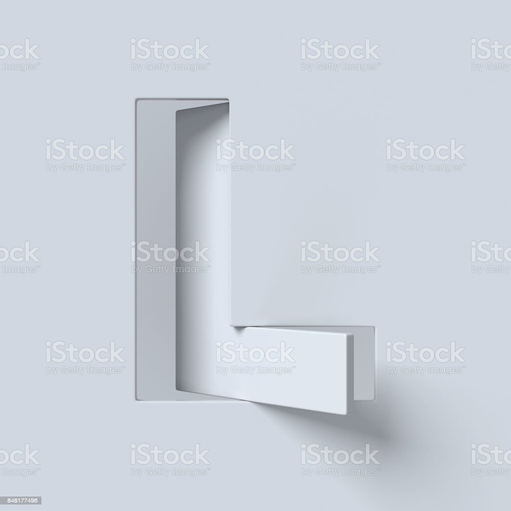 Cut out and rotated font 3d rendering letter L stock photo