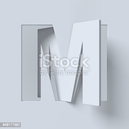 844515966 istock photo Cut out and rotated font 3d rendering letter M 848177562