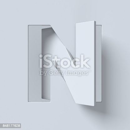 istock Cut out and rotated font 3d rendering letter N 848177628