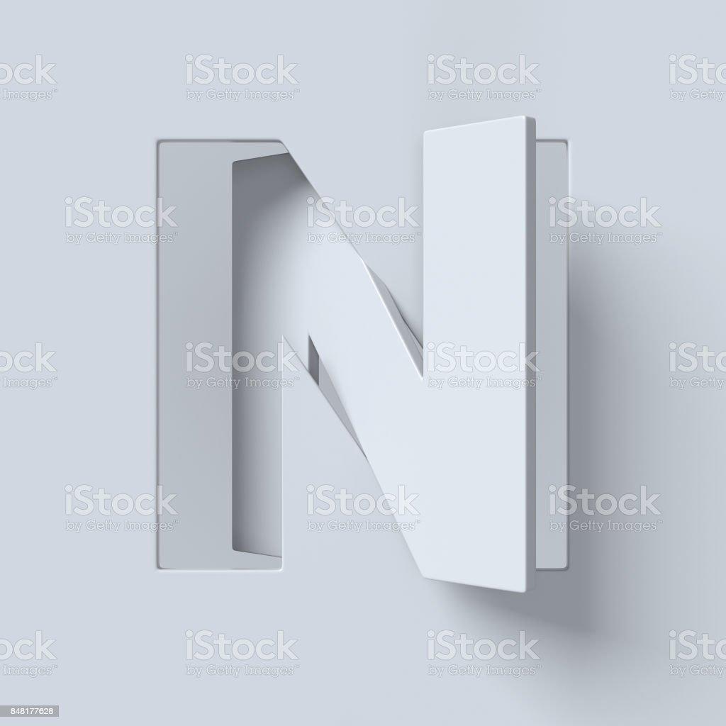 Ausschneiden und gedreht Schriftart 3d Rendering-Buchstabe N – Foto