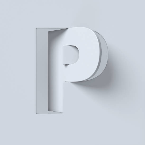 Cut out and rotated font 3d rendering letter P Cut out and rotated font 3d rendering letter P letter p stock pictures, royalty-free photos & images