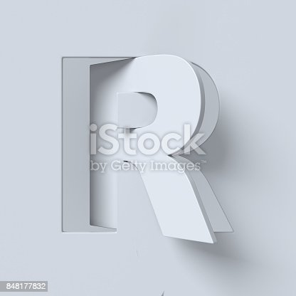 istock Cut out and rotated font 3d rendering letter R 848177832