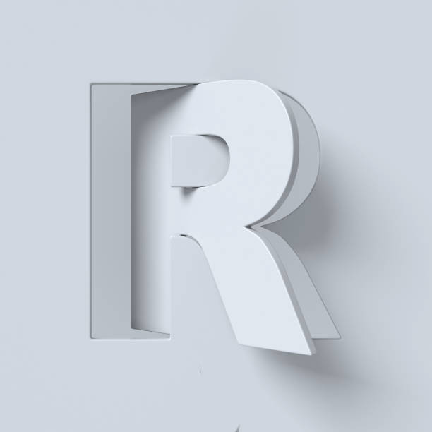Cut out and rotated font 3d rendering letter R stock photo