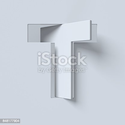 583978622istockphoto Cut out and rotated font 3d rendering letter T 848177904