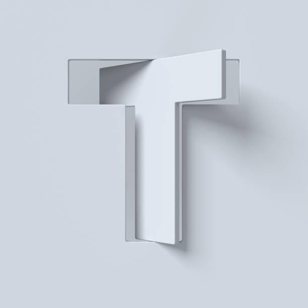 ausschneiden und gedrehte schriftart 3d-rendering buchstabe t - t stock-fotos und bilder