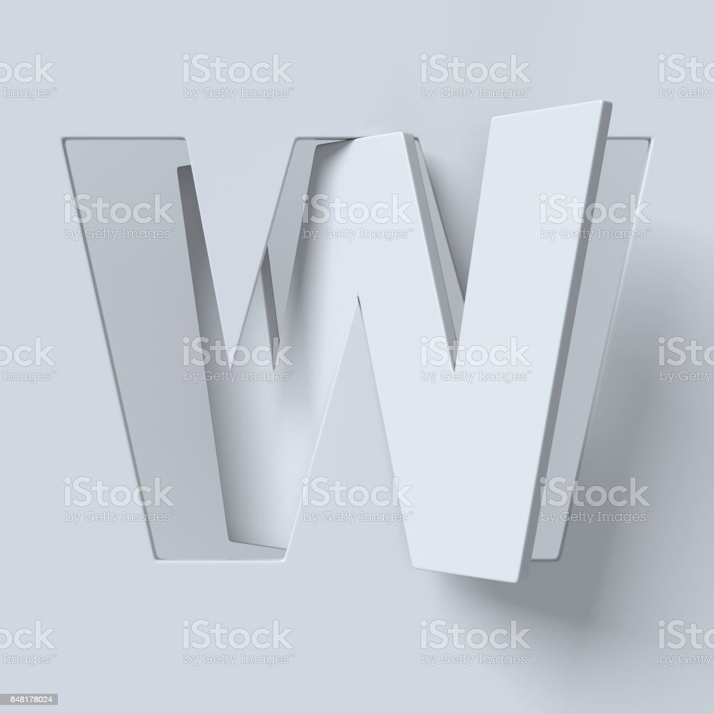 Cut out and rotated font 3d rendering letter W stock photo