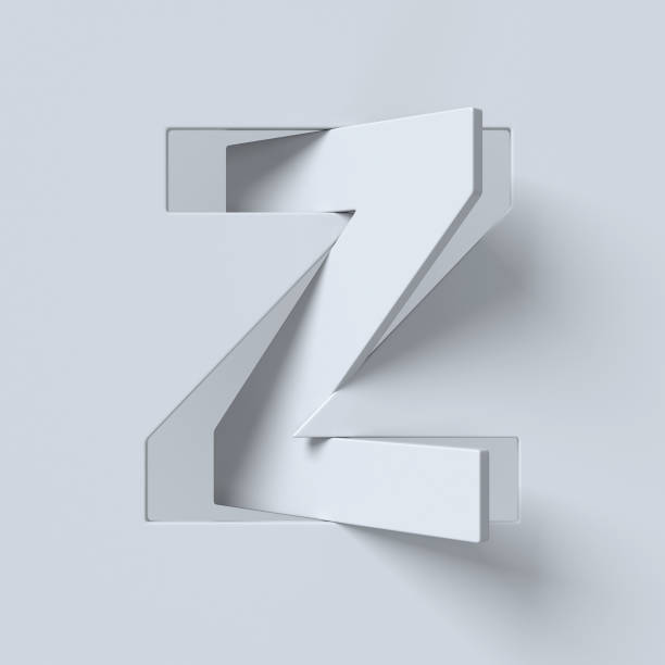 Cut out and rotated font 3d rendering letter Z stock photo