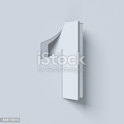583977832 istock photo Cut out and rotated font 3d rendering number 1 848178310