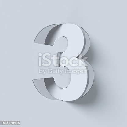 istock Cut out and rotated font 3d rendering number 3 848178426