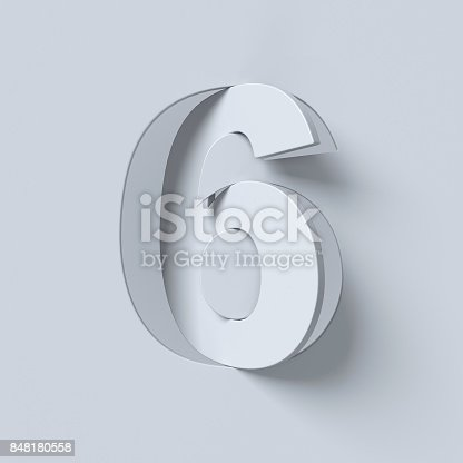 istock Cut out and rotated font 3d rendering number 6 848180558