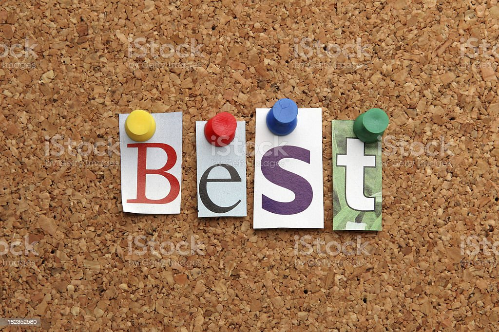 Cut Out Magazine Letters Spelling The Word Best On Board Stock Photo